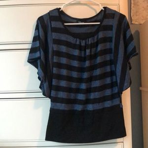 Black and blue stripped blouse